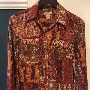 Lucky Brand 70's style collared silk shirt